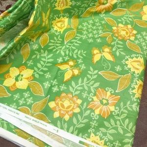 Vintage 70s Green Floral Upholstery Fabric 4+y
